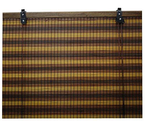 Tenda rullo legno / tenda bambu pieghevole / tapparella avvolgibile / tenda rullo finestre, largh.x lungh.= (90 x 135 cm, tricolore)