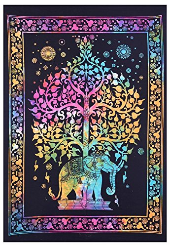 World breit Kart Twin Elefant Baum des Lebens Mandala Wandbehang Baumwolle Mehrfarbig Bohemian Kleine Stickset Tie Dye Dekorative Stil Poster Wall Art Größe 76,2x 101,6cm Wohnzimmer Home Decor Werfen Art Elefant Karte Poster