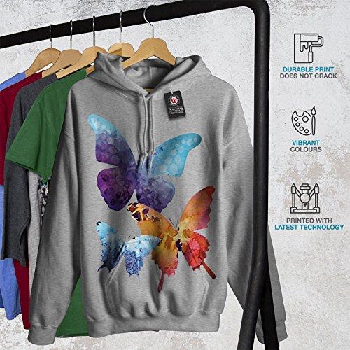 Coloré Papillon Femme S-2XL Sweat à capuche | Wellcoda Gris