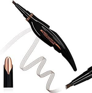 Feather Eyebrow Pencil - Tattoo Eyebrow Pen with Fork Tip Long-lasting Waterproof Tatbrow Pen and Smudgeproof Brow Pen for Naturally Defined Eyebrows(Dark brown)