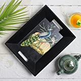 Valentine Day Wooden Peacock Design Print Serving Tray With Handles Tea Snack Dessert Parties Serve Ware Dining Accessory