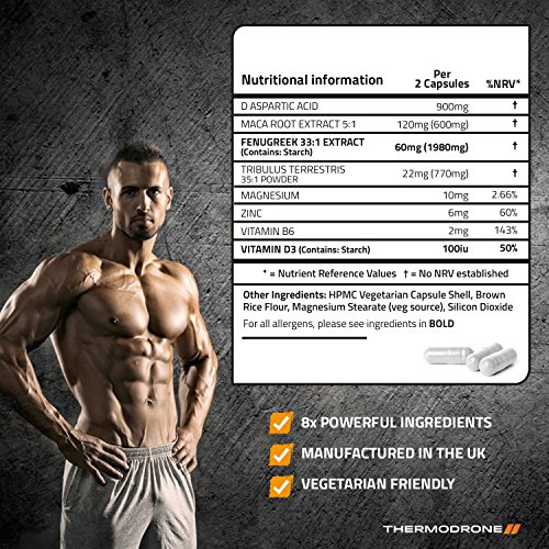 Extreme Testosterone Boosters for Men TestoMax – 120 Veggie Caps – UK Manufactured Lab Tested Testosterone Tablets – Super Strength Testosterone Supplement For Men – Increase Test Levels with Added Tribulus, Maca, Feenagreek & D Aspartic Acid – Super Charge Muscle Growth – 8 Powerful Active Ingredients – Order Today From A Leading UK Brand Thermodrone