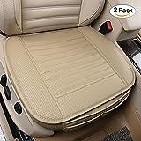 Housses de siège individuelles Respirant Massage Coussin de siège d'auto Avec du charbon de bois PU Leather Bamboo, Coussin de siège d'intérieur pour siège de voiture (2 pièces beige)