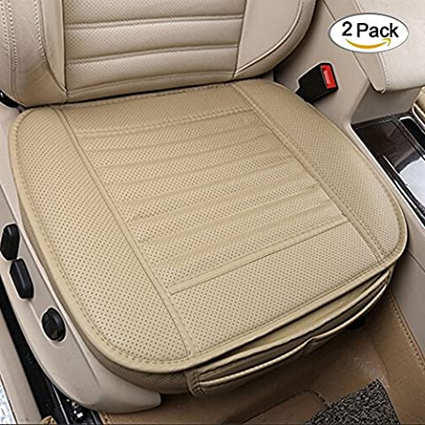 Car seat Cushion Bamboo Charcoal Car Seat Cover with PU Leather Interior Seat Pads (2PCS Beige)