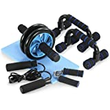 TOMSHOO 5-in-1 Fitness Workout Set - AB Wheel Roller Addominali +2 Maniglie per Flessioni + Corda per Saltare + Pinza…