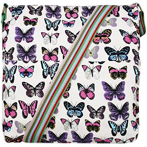 Miss Lulu Damen Leinwand Tasche Schultertasche Cross Body Messenger Bag Tupfendruck Elefant Katzen Eule Blumen Gepunktet Schmetterling Schulranzen Satchel Butterfly Pink