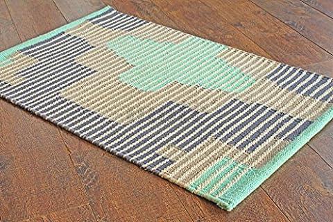 50x80 cm Tapis de passage en coton rayé multicolore. Tapis tissé plat réversible fait avec du coton 100 % organique et des colorants naturels. 1'8
