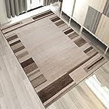Carpeto Designer Teppich Wohnzimmer Modern Gestreift Kurzflor Design In Brown Beige (240x330 cm)
