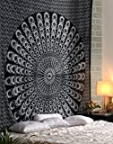 #6: Tapestry Lovers Black Peacock Psychedelic Mandala Boho Hippie Bohemian Mandala Tapestry For Wall Hanging Beach Throw Towel Blanket Double Bed Bedsheet Table Cover Room Wall Window Decoration Bedspread Picnic Yoga Garden Mat Queen Double Size Cotton Tapestry 84 X 95