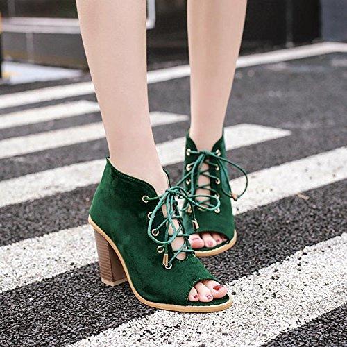 LvYuan-mxx Sandales femme / Printemps Été / daim / Sangles creux / gros orteils Poitrine bouche chaussures / Confort Casual / Bureau & Carrière Robe / Bottes cool / Talons hauts GREEN-37