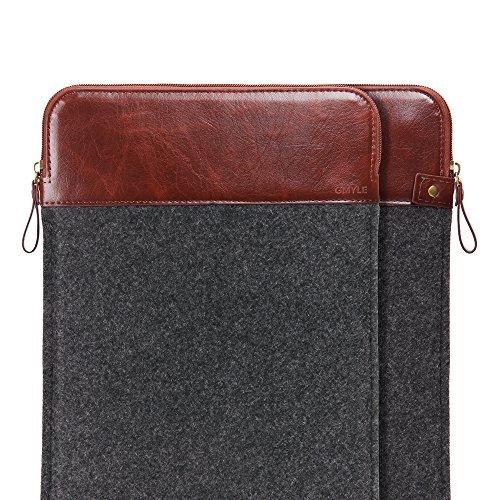 GMYLE Sleeve Filz Reißverschluss für MacBook Air Pro Retina 33cm–Dark Grau und Braun Bag