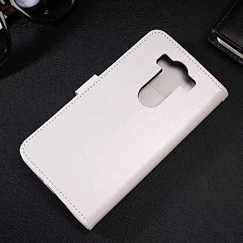 Wkae Case Cover LG G4 PRO Fall feste Folio magnetische Design Flip Brieftasche Stil Fall Farbmuster PU-Leder-Abdeckung Standup-Abdeckungsfall für LG G4 PRO ( Color : Brown , Size : LG G4 PRO ) White