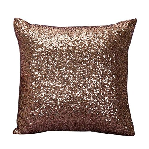 Indexp Glitter Sequins Solid Color Pillowcase Home Decor Sofa Cushion Cover (Coffee/45x45cm)