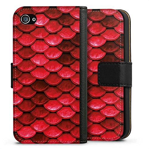 Apple iPhone 5c Silikon Hülle Case Schutzhülle Rote Schuppen Drache Muster Sideflip Tasche schwarz