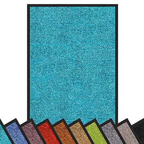 Schmutzfangmatte Rhine | schadstoffgeprüft | waschbare & extra leistungsstarke Fußmatte | Sauberlaufmatte mit Rutschfester Rückseite | Türmatte in vielen Größen & Farben (40x60 cm, Türkis)