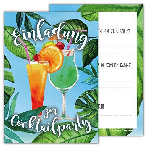 skarten Set Geburtstag Motiv Cocktail Party Cocktailparty Einladung Feier Emoji (Katze Im Hut-geburtstag-einladungen)