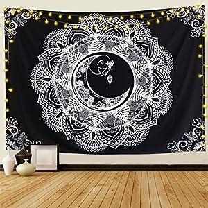 Dremisland Mond Wandteppich Mandala Tuch Wandtuch Schwarz und Weiß psychedelische Wandteppich Wand Wandbehang Hippie…