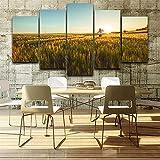 aicedu Dipinto su Tela HD Poster Stampato per Soggiorno 5 Pannello di Grano Campo Vista del Sole Wall Art Home Decor Cornice Immagini Moderne (Senza Cornice)