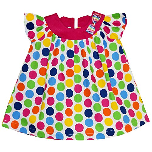 Mom's Girl Multicoloured Dotted Frock With Pink Yoke And Bow (12-18 Months)