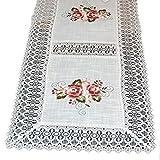Tischläufer 40x150 cm Weiß Rose Altrosa Gestickt Makramee Spitze Läufer Decke (Tischläufer 40x150 cm rechteckig)