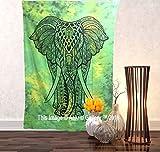 Aakriti Gallery Wandteppich mit Elefanten-Motiv, ca. 215x 140cm, 100 % Baumwolle, grün, 85x55 inches