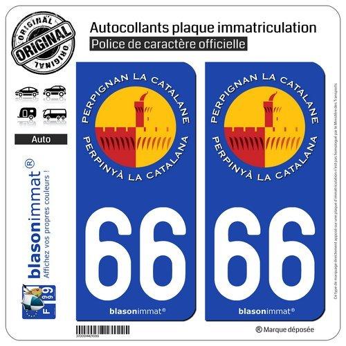 blasonimmat 2 Autocollants Plaque immatriculation Auto 66 Perpignan - La Catalane