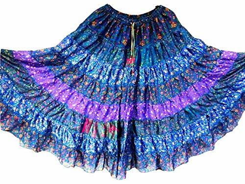 Tribal Gypsy Maxi Tiered Rock Bauchtanz Röcke Silk Blend Banjara Passend für S M L 375