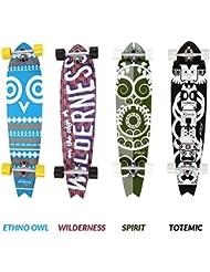 Physionics - Skateboard longboard en bois au style ethno - 101 x 25 cm - roulement ABEC 9 - DESIGN AU CHOIX