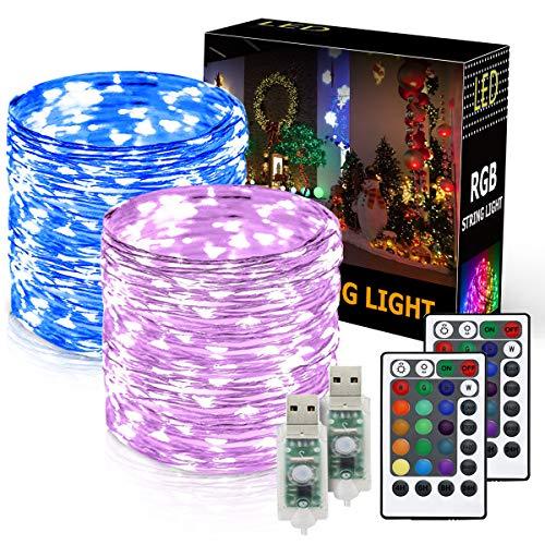 Onforu 2er Pack 10M USB LED Lichterkette RGB | 100er LED Silberdraht Lichterketten mit Fernbedienung und Timer | IP65 Wasserfest | 16 Farben für Innen- und Außenbeleuchtung Weihnachten Party Haus Deko Farbe Usb