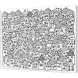 pintcolor 7165.0marco con lienzo impreso de colorear, madera de abeto/algodón, blanco/negro, 50x 40x 3.5cm