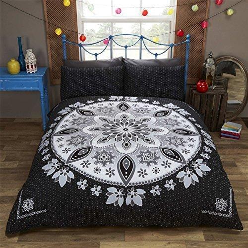 Blumenmuster Mandala gepunktet schwarz Leder weiß Baumwollmischung Einzelbett Bettbezug