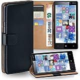 OneFlow Tasche für Nokia Lumia 820 Hülle Cover mit Kartenfächern | Flip Case Etui Handyhülle zum Aufklappen | Handytasche Schutzhülle Zubehör Handy Schutz Bumper in Schwarz