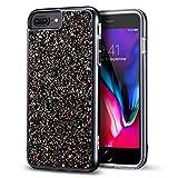 ESR Coque iPhone 7 Plus/ 8 Plus, Coque Bling Bling Glitter de Luxe, Housse Etui de Protection Bumper Double Couche [Anti Choc][Protection Complète] pour Apple iPhone 7 Plus / 8 Plus (Noir Pailleté)