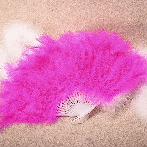 "SIRIGOGO Roaring 20s Vintage Style Folding Handheld Flapper Feather Hand Fan for Costume Halloween Dancing Party Tea Party Variety Show 17.72""x10.24"" (Hot Pink)"