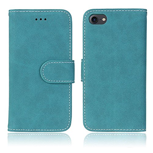 iphone 7/8 Case, NewTH [ Executive Quality] Folio Matte Leather Wallet Cases with [Kickstand] [Card Slots] [Magnetic Closure] Flip Notebook Cover for Apple iphone 7/8 (Blau) Iphone Executive Leather Case