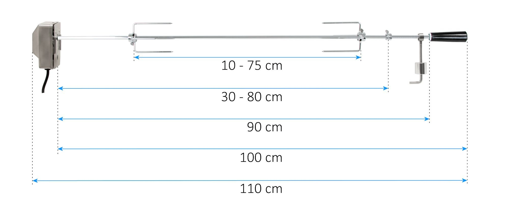 BBQ Grillspieß Edelstahl 110cm Ausgleichsgewicht Drehspieß Schaschlik