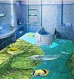 Wallpaper Experten Unterwasser Aquarium 3D-Bodenfliesen keramische Fliese 3D Schlafzimmer Badezimmer Erdgeschoss Membranwand Aufkleber Aufkleber auf der Oberseite der Wasserdicht