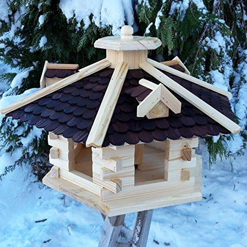 Vogelhaus Ø 59cm Vogelhäuser Vogelfutterhaus Vogelhäuschen aus Holz Schreinerarbeit Gaube Dunkelbraun sehr Groß XXXL