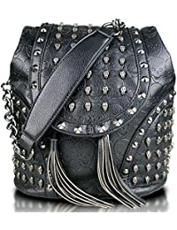 071e462cc6c7 Miss Lulu Faux Leather Studded Embossed Skull Chain Backpack Shoulder Bag  Travel Leisure Work School Bags
