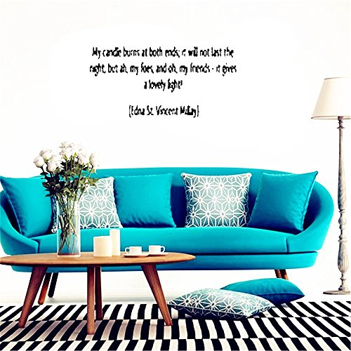 Pegatinas De Pared Vinyl Wall Decal Quote Home Decor My Candle Burns At Both Ends: It Will Not Last The Night