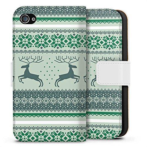 Apple iPhone X Silikon Hülle Case Schutzhülle Rentiere Weihnachten Norwegermuster Grün Sideflip Tasche weiß