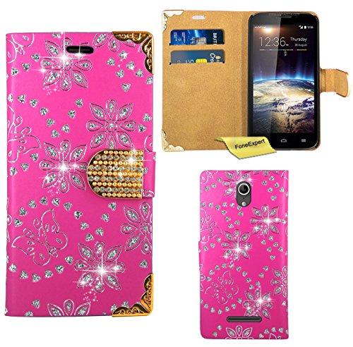 Vodafone Smart 4 Power Handy Tasche, FoneExpert® Bling Luxus Diamant Hülle Wallet Case Cover Hüllen Etui Ledertasche Premium Lederhülle Schutzhülle für Vodafone Smart 4 Power (Rosa)