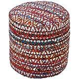 "Homescapes Puff ""Chindi""blando redondo, estilo oriental, multicolor 45 diámetro x 40 cm altura"