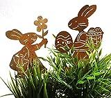 2er SET Gartenstecker Hasenpaar Mädchen und Junge Rost Deko Design (Beetstecker) Lustig