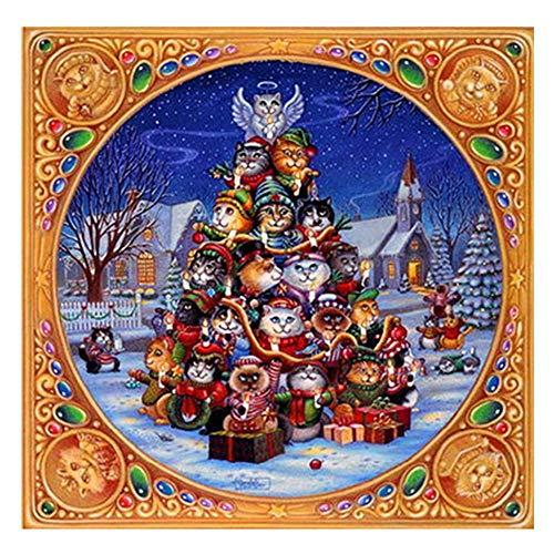 Jkhhi Weihnachten Katze Muster Diamond Painting Gemälde Diamant Stickerei Malerei Strass Eingefügt Diamonds Schneemann Kleines Haus für Home Wall Decor -