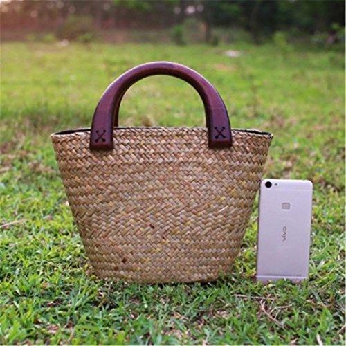 SPWERINGES Thai Version von Handmade Mini Stroh Tasche Damen Kunst und Handwerk Handtasche Urlaub Strandtasche Rattan Wasser Eimer Tasche shuitong2yuan