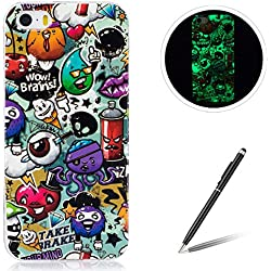 for Apple iPhone 5/5S/SE TPU Case Coque Housse Feeltech Luminous Noctilucent Green Glow Soft Rubber Bumper Protective Cover Skin Shell Stylish Unique Colourful Pattern Crâne
