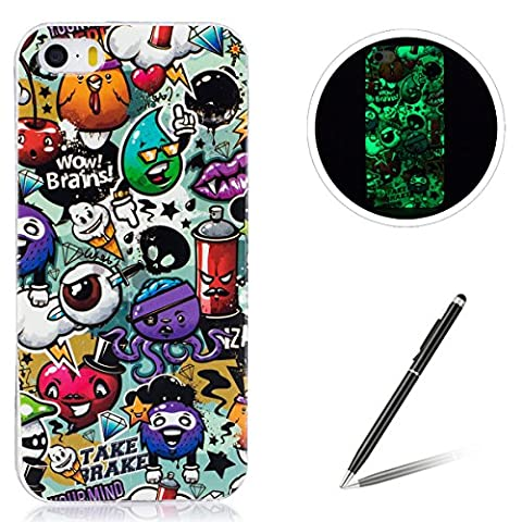 iPhone 5/5S/SE TPU Case Coque iPhone 5/5S/SE Gel Housse Feeltech [Gratuit Stylet Pen] Luminous Effect Noctilucent Green Glow in the Dark Matte White Ultra Slim Soft Rubber Shock Absorber Flexible Bumper Protective Cover Skin Shell pour Apple Apple iPhone 5/5S/SE with Stylish Unique Colourful Printed Pattern Design - Peinture Graffiti