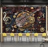 Weaeo Benutzerdefinierte Wandbild Tapete Wandverkleidung Retro Metallgetriebe Musical Notes Gitarre Bar Ktv Hintergrund Bild Dekoration Wandmalerei-120X100Cm