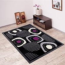 Alfombra De Salón Moderna – Color Negro Púrpura De Diseño Piedras – Suave – Fácil De Limpiar – Top Precio – Diferentes Dimensiones S-XXXL 200 x 300 cm